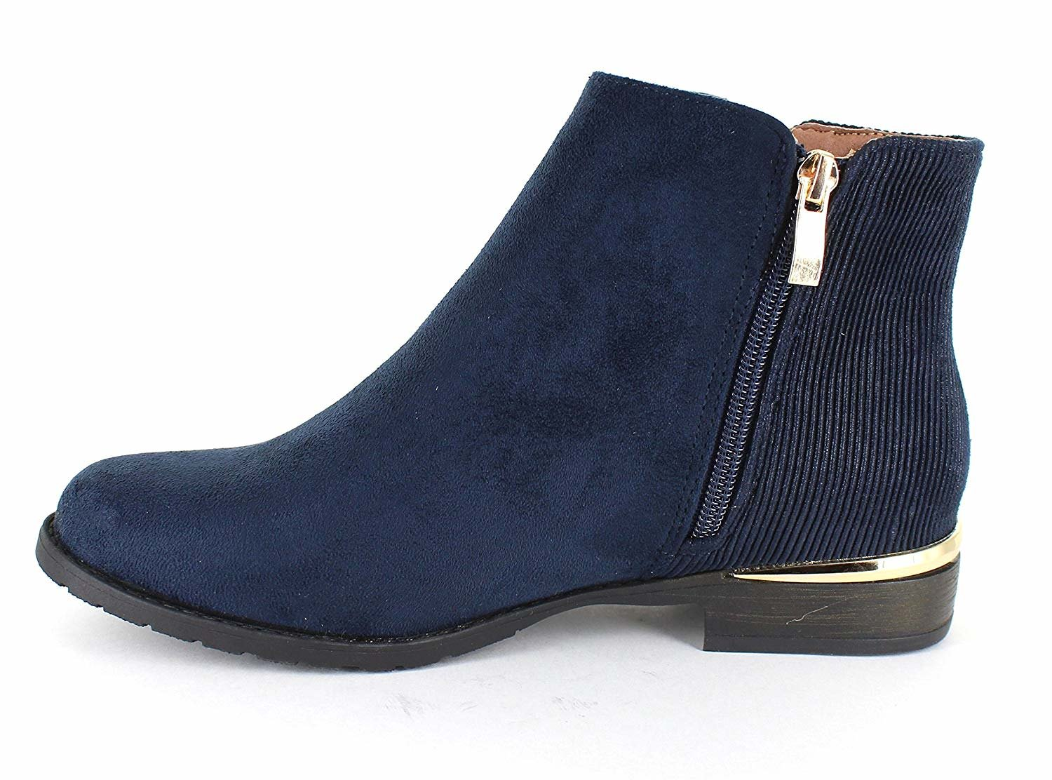 only Gold U Casual Faux Suede Gold only Trim Ankle Boots B07F9NTW6Q 5.5 B(M) US|Navy 82099f