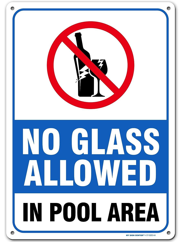 수영장 지역 경고 기호에 허용되는 유리 없음-수영장 안전-수영장 규칙-14 엑스 10-.040 헤비 듀티 메탈-UV 보호 및 비바람에 견디는-21152E3-A4