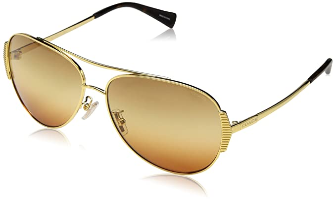 2a69ca6b3a Amazon.com  Sunglasses Coach HC 7067 9238W8 GOLD DARK TORTOISE  Clothing