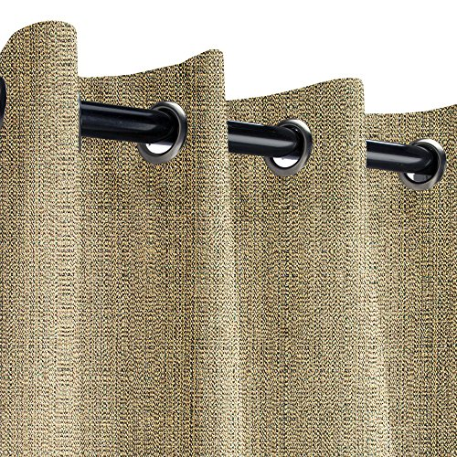 Sunbrella Linen Pampas Outdoor Curtain with Nickel Grommets 50 in. Wide x 120 in. Long