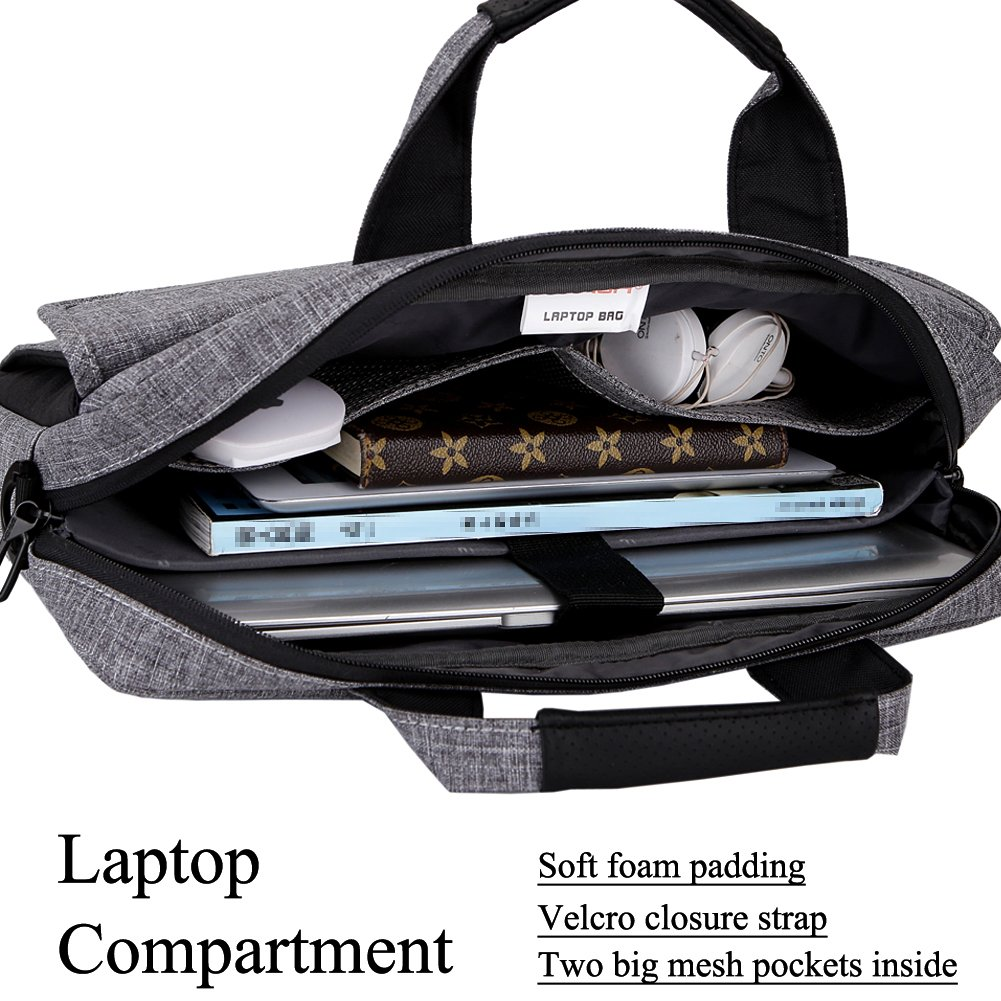 Brinch 13.6 Inch Unisex Fabric Laptop Sleeve Messenger Shoulder Bag for 13-13.6 Inch Laptop/Notebook/MacBook/Ultrabook/Chromebook Computers (Grey) by BRINCH (Image #4)
