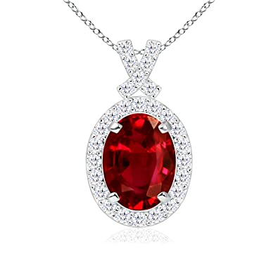 Angara Oval Ruby Antique Necklace in 14k White Gold - July Birthstone Pendant tjoG4