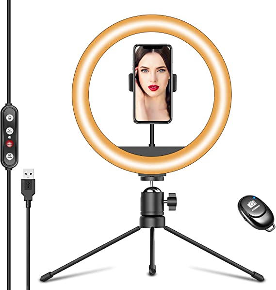 10.2 LED Ring Light with Adjustable Tripod Stand /& Phone Holder Desktop Ringlight 3 Light Modes 10 Brightness Level Dimmable Desk LED Ring Light for YouTube Video,Live Streaming,Photography