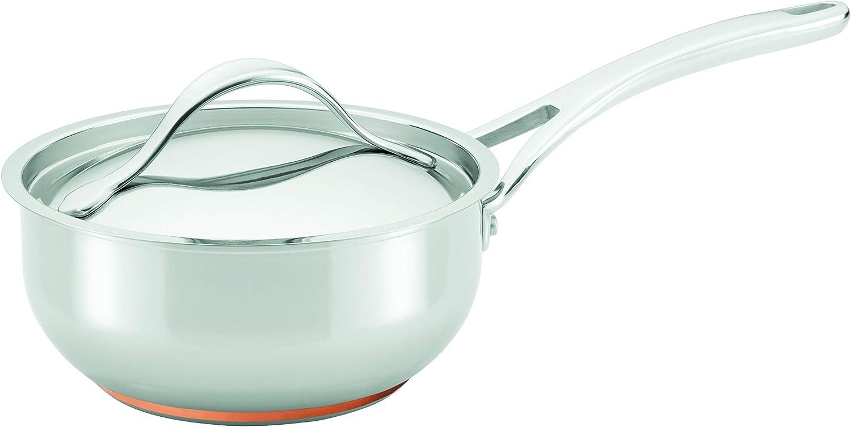 Amazon Com Anolon Nouvelle Stainless Steel Sauce Pan Saucepan Saucier With Lid 2 5 Quart Silver Kitchen Dining