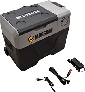 M MASSIMO MOTOR 40L Electric Cooler with Trolley Wheels & Telescopic Handle | 12V DC AC Portable Refrigerator | Travel Freezer for Picnic, Camping, Boat & Car, 40L-Large
