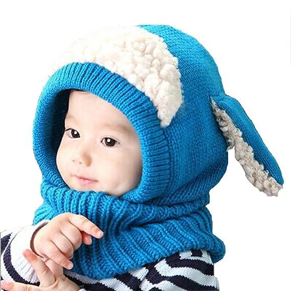 38698718fc2d HiChili Bonnet de Laine Tricote Renard Ensemble Echarpe Hiver Pour Enfant  Réchauffent Cartoon Style Chapeau Tricoté