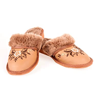 Ladies/Women`s 100% Natural leather warmed slippers size:345678