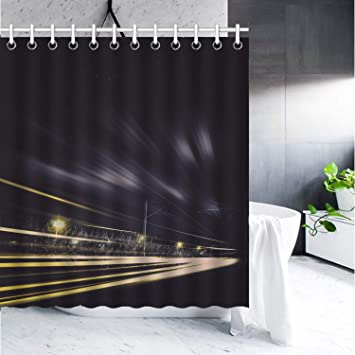 Kaiyi Home Decor Shower Curtain With Hooks65quotx72quot For Bathroom Road