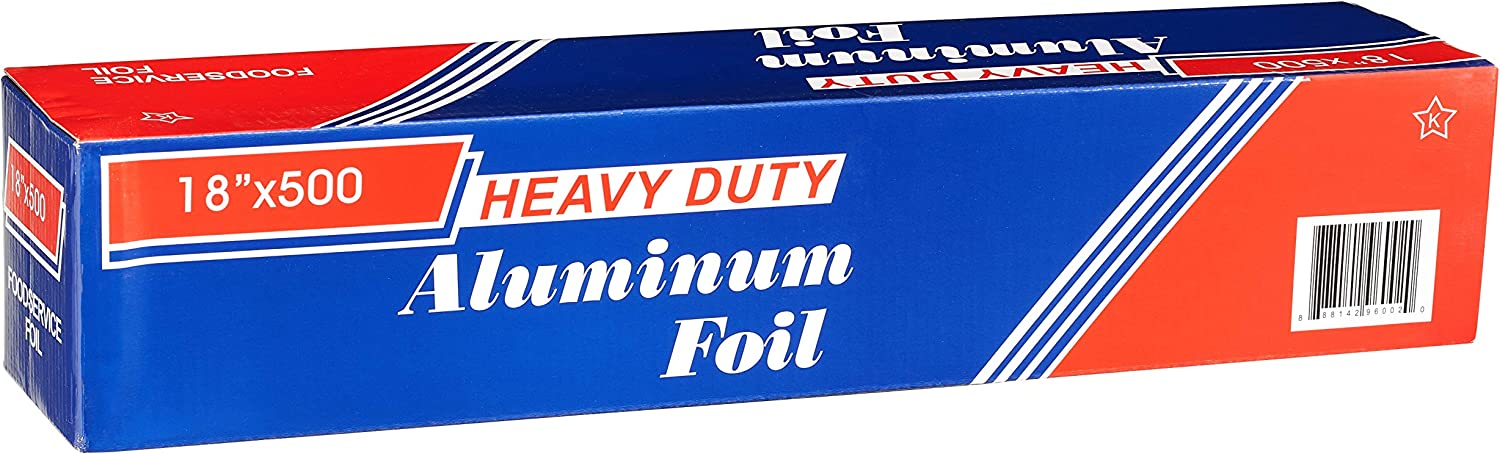 [1 Pack] Heavy Duty Food Service Aluminum Foil Roll (18 inch x 500 FT) with Sturdy Corrugated Cutter Box - Great for Grill Use, Kitchen Wrap, Foil Wrap, Cooking, Cleaning by EcoQuality