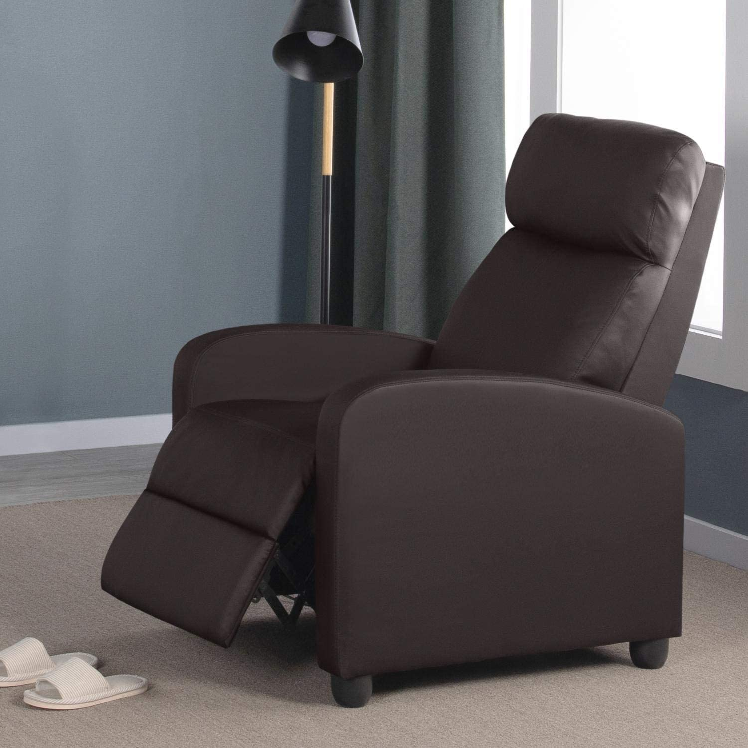 - Yaheetech Recliner Armchair Single Padded Seat PU Leather Sofa