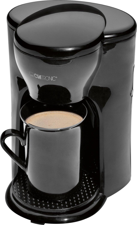 Clatronic KA 3356 - Cafetera eléctrica pequeña de goteo automática, capacidad de 1 taza café, filtro permanente, incluye taza, 330W, óptimo camping, color negro KA3356