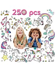 20 Sheets Unicorn Temporary Tattoos for Kids, 250 Assorted Unicorn Pattern Design for Unicorn Party Supplies Kit Party Favors Decorations for Girls Gift