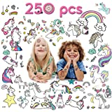 VCOSTORE Temporary Unicorn Tattoos for Kids, 20 Sheets 250 Assorted Unicorn Pattern Tattoos - Party Favor / Fun Gifts / Theme Decoration