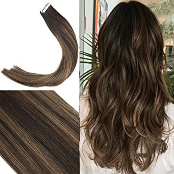 Youngsee 18inch Remy Straight Balayage Tape In Extensions Human Hair Dark Brown Mixed Honey Blonde
