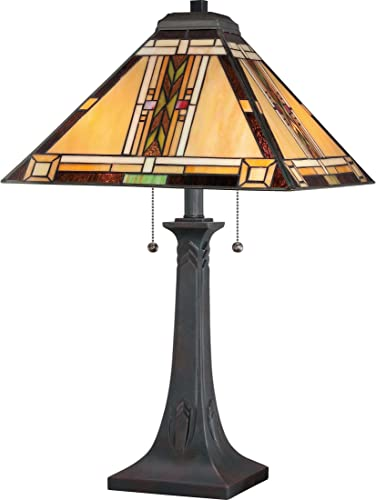 Quoizel TFNO6325VA Navajo Tiffany Table Lamp Lighting, 2-Light, 150 Watts, Valiant Bronze 25 H x 15 W