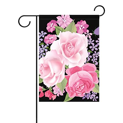 d889ab47859 U LIFE Pink Rose Decorative Garden Flag Banner Double Side Print Polyester  40 x 28 &