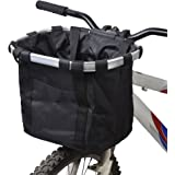 XIGUI Bike Basket Detachable Cycling Bag for Pet Quick Release and Easy to Install Removable Bicycle Handlebar Front Basket Camping and Outdoor Collapsible Bike Basket Commuter Shopping