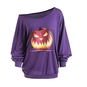 cbe01766779a0 NOMSOCR Women s Halloween Plus Size Hoodie Pullover Autumn Long Sleeve Off  Shoulder Sweatshirt Blouse Tops (