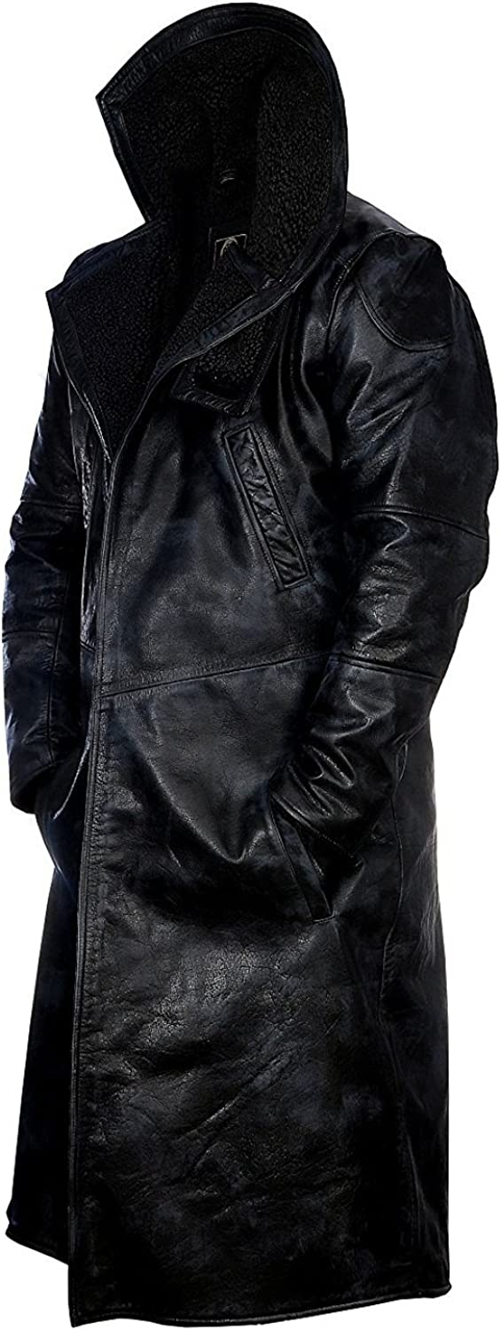 Ryan Gosling Blade Runner 2049 Fur Mens Officer K Black Leather Fur Coat Jacket