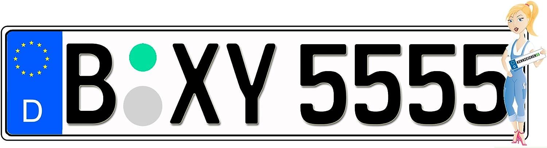 Kfz Kennzeichen mit Eurofeld 520x110mm aus Aluminium reflektierend