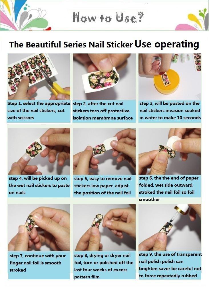 Amazon.com: Rainbow-Lee Beautiful Nail Art Tips Stickers False Nail ...