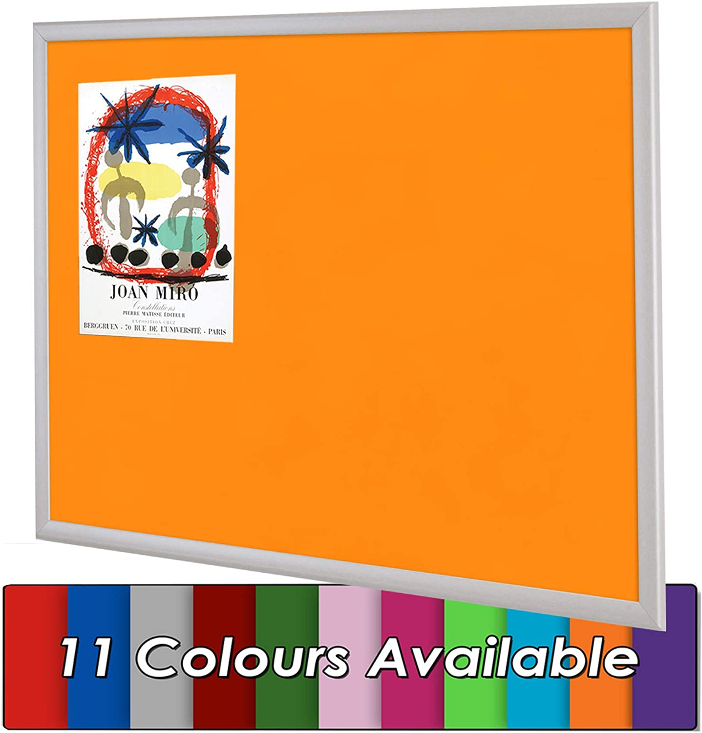 Office Wonderwall Eco-Friendly Felt Noticeboard 900 x 600 mm Silver Wooden Frame Pinboard 11 Colours to Choose from Home Green Kitchen incl.