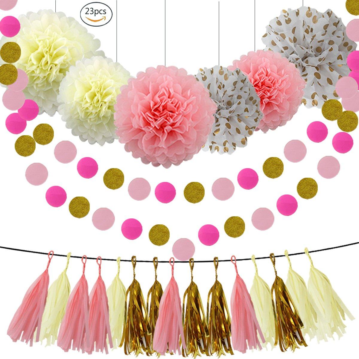 HEARTFEEL Baby Showers Decorations Kit 23pcs - Pink Cream Glitter Gold Paper Pom Poms,Tassel Garland Pink Gold Polka Dot Paper Garland for Baby Shower Wedding Nursery Decorations Bridal Shower