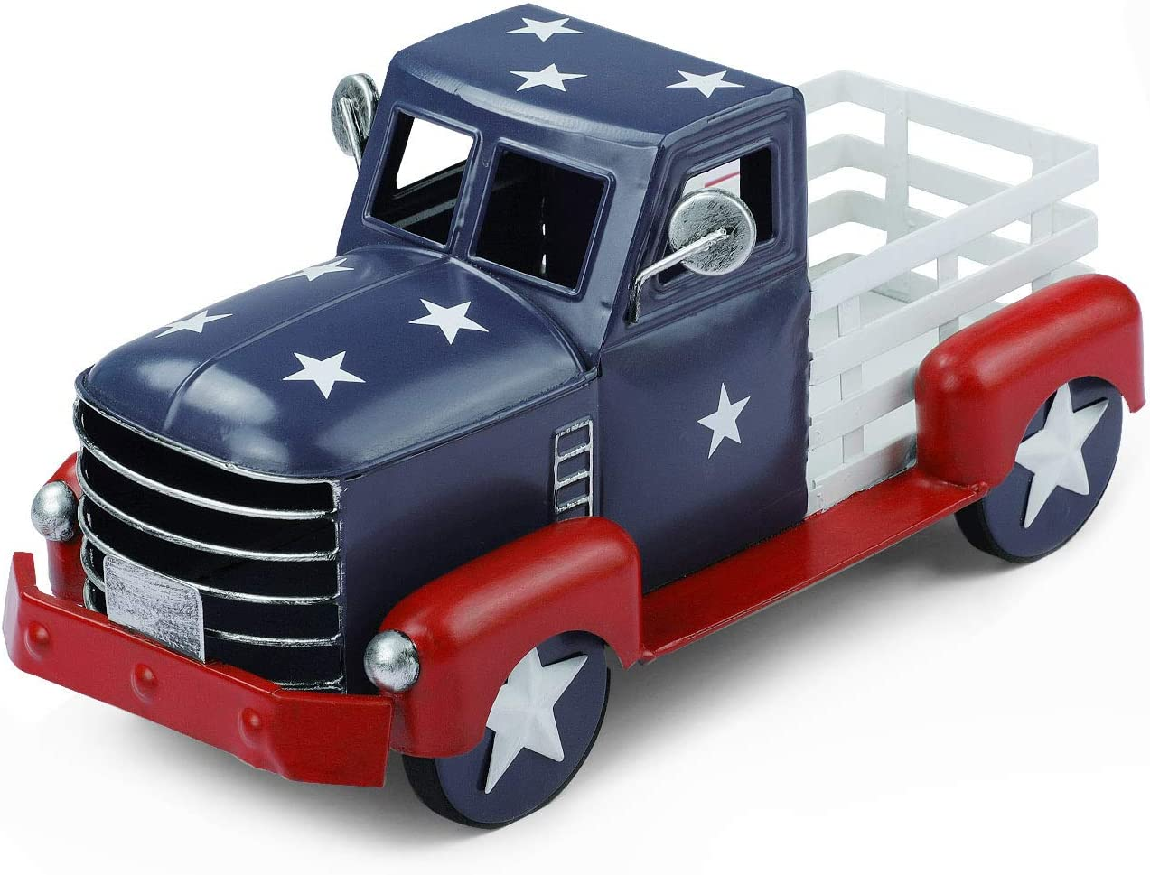 Patriotic Truck Decor, Vintage Fourth of July Metal Truck Planter, Farmhouse Pick-up Truck Spring Decorations & Americana Decorative Tabletop Storage (Small Size)