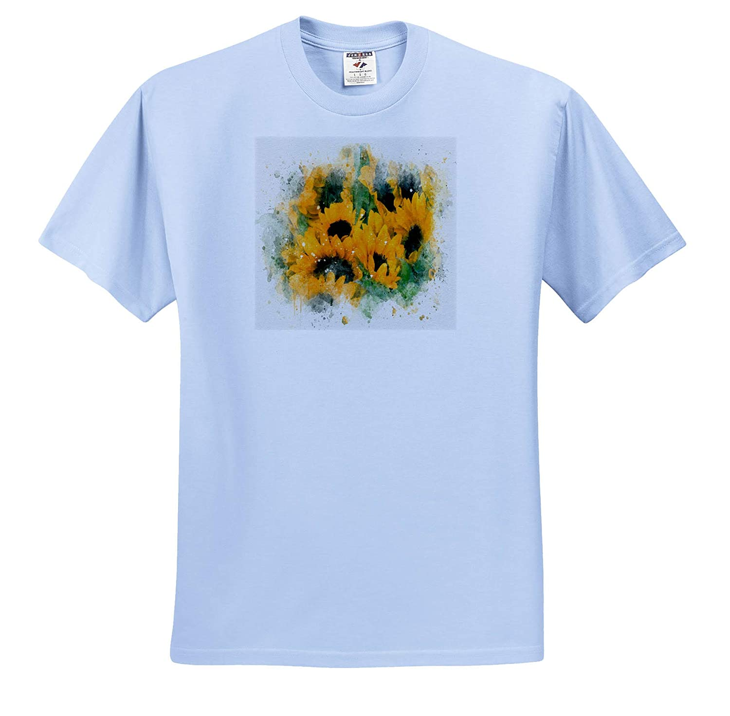 Impressionist Mixed Media Art ts/_318713 Image of Watercolor Sunflower Art 3dRose Anne Marie Baugh Adult T-Shirt XL