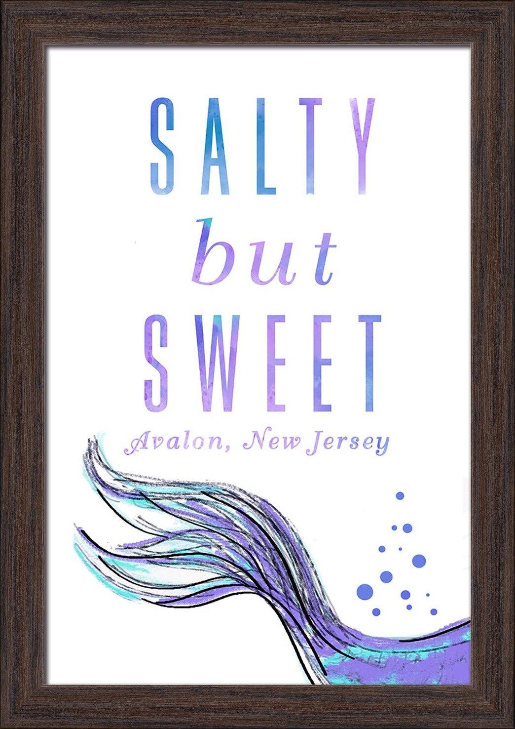 Salty But Sweet 24x36 Giclee Art Print, Gallery Framed, Black Wood Mermaid Tale New Jersey Avalon