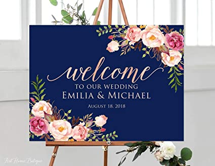 Amazoncom Emily Navy Wedding Welcome Sign Rose Gold Welcome To Our