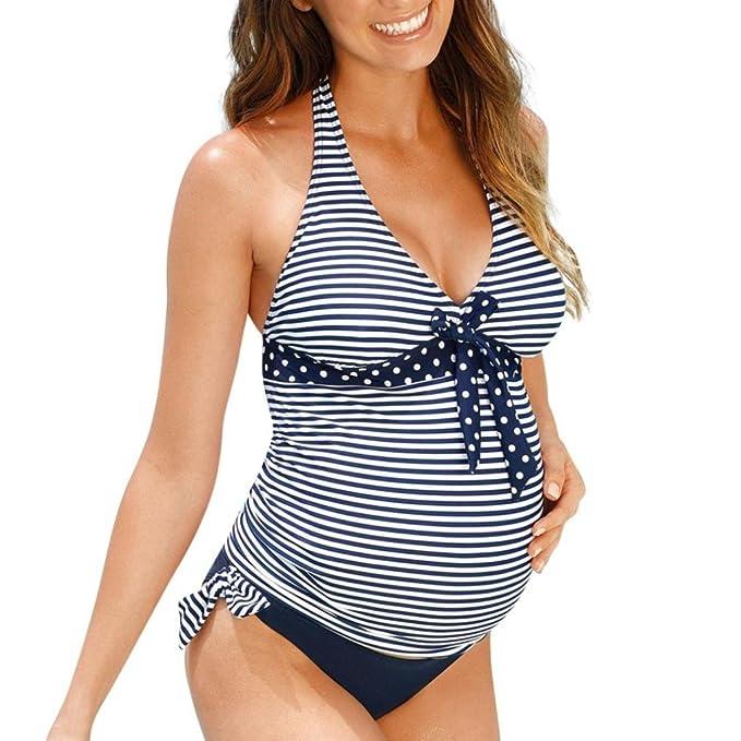 7224a93b0f9d QinMM Tankini Traje de baño Mujer Maternidad Premamá para Mujer Punto  Deportes Bañador de Dos Piezas Embarazada Bikini