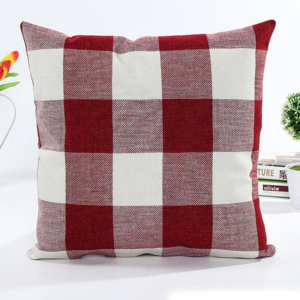 Pillowcase, Zulmaliu Lattice Pillow Cases Geometric Embroidered 18 X 18 Inches (Red)