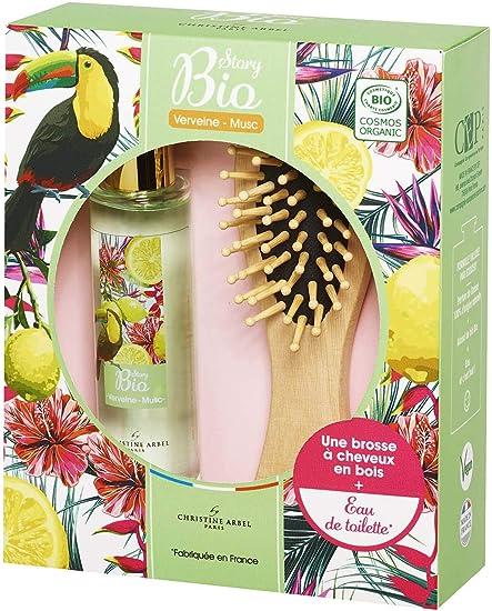 Estuche perfume para mujer Story Bio – Eau de Toilette 50 ml + 1 cepillo de pelo de madera fabricado en Francia Vegan: Amazon.es: Belleza