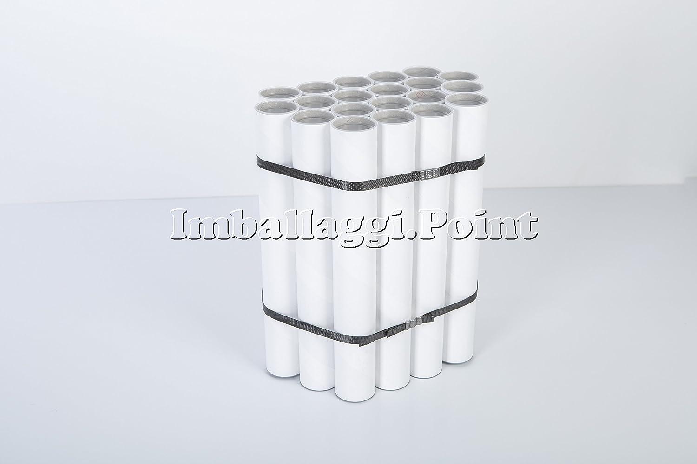 20 tubi CARTONE CON TAPPO PLASTICA SPEDIZIONI POSTALI ALTEZZA 330x40mm DIAMETRO BIANCHI FORMATO A3/A4 Imballaggi.Point