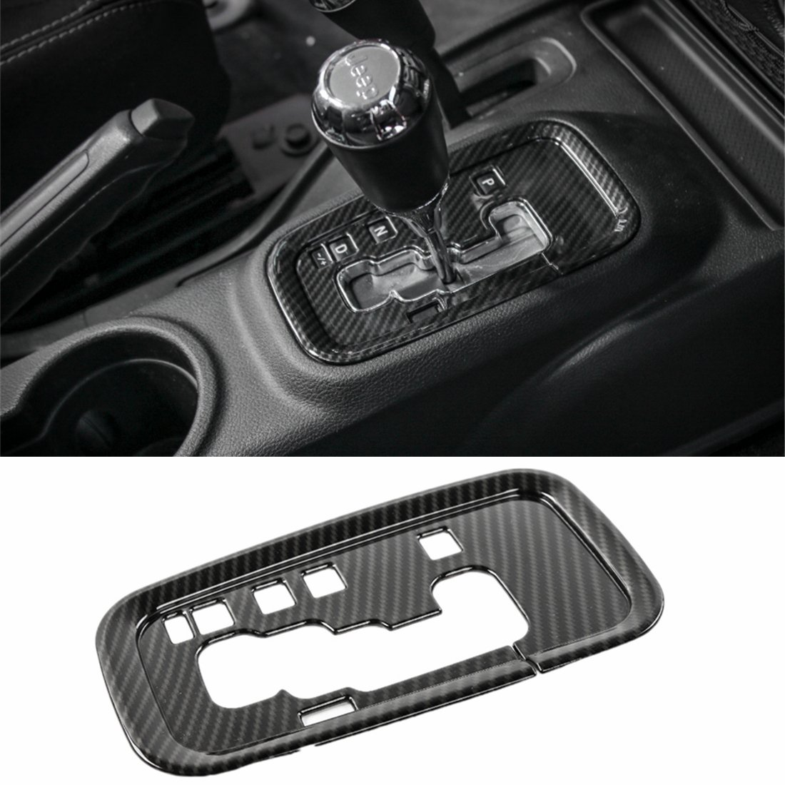YOCTM for Jeep Wrangler 2011 2012 2013 2014 2015 2016 2017 Accessories Gear Shift Plate Shifter Transfer Full Cover Decoration Interior Trims Carbon Fiber Look JK JKU Rubicon Sahara ABS Car Styling