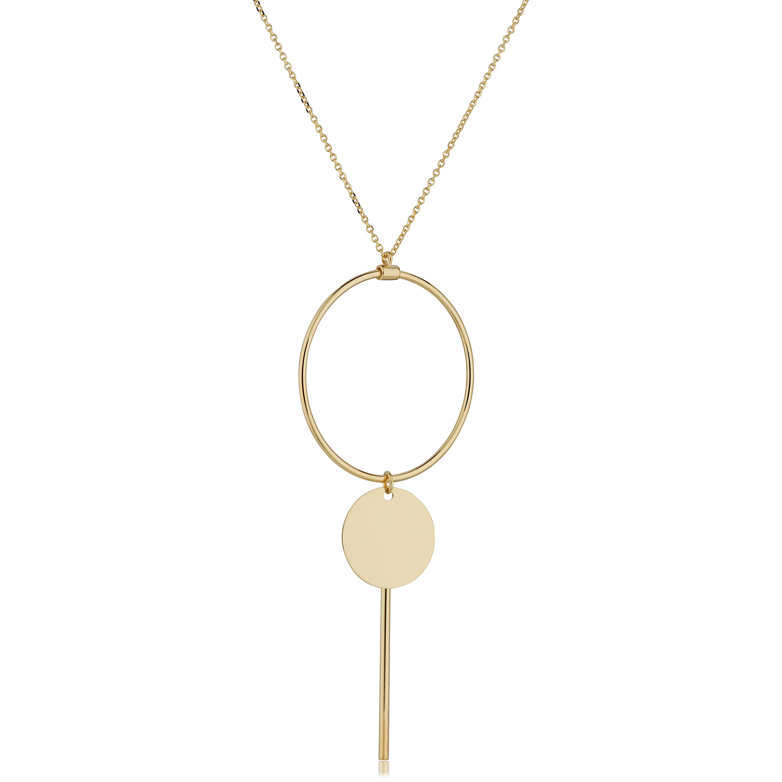 14kt Italian Yellow Gold, Y-Style, Circle Drop with Bar Necklace on a link Link Chain