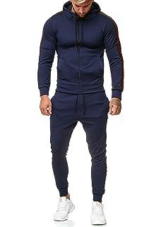 Adisputent Herren Streifen Stil Trainingsanzug Sportanzug Jogginganzug Sweatjacke Tunnelzug Jogginghose