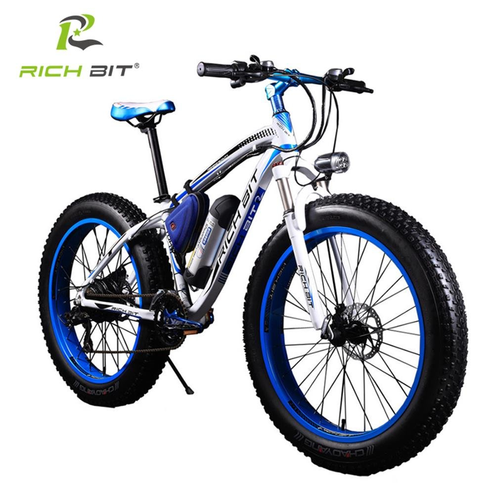 RICH BIT TP012 Electric Fat Bike Mountain Bicycle Snow Bike Cruiser Ebike 350W Motor 36V Lithium Battery Dual Brakes with Shimano 21 Speeds System 26''4.0 inch Fat Tire Suspension Fork BLUE