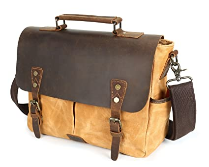 a1574318a959 Image Unavailable. Image not available for. Color  MUMUWU Men s Messenger  Bag Oil Wax Canvas Bag Waterproof Retro Crazy Leather Student Shoulder Bag  Orange