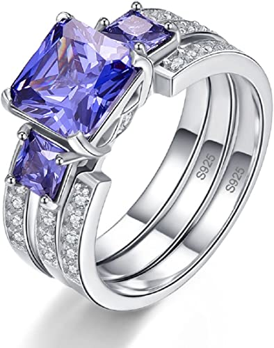 Ladies Tanzanite and White Sapphire Sterling 925 Solid Silver 3 Stone Ring