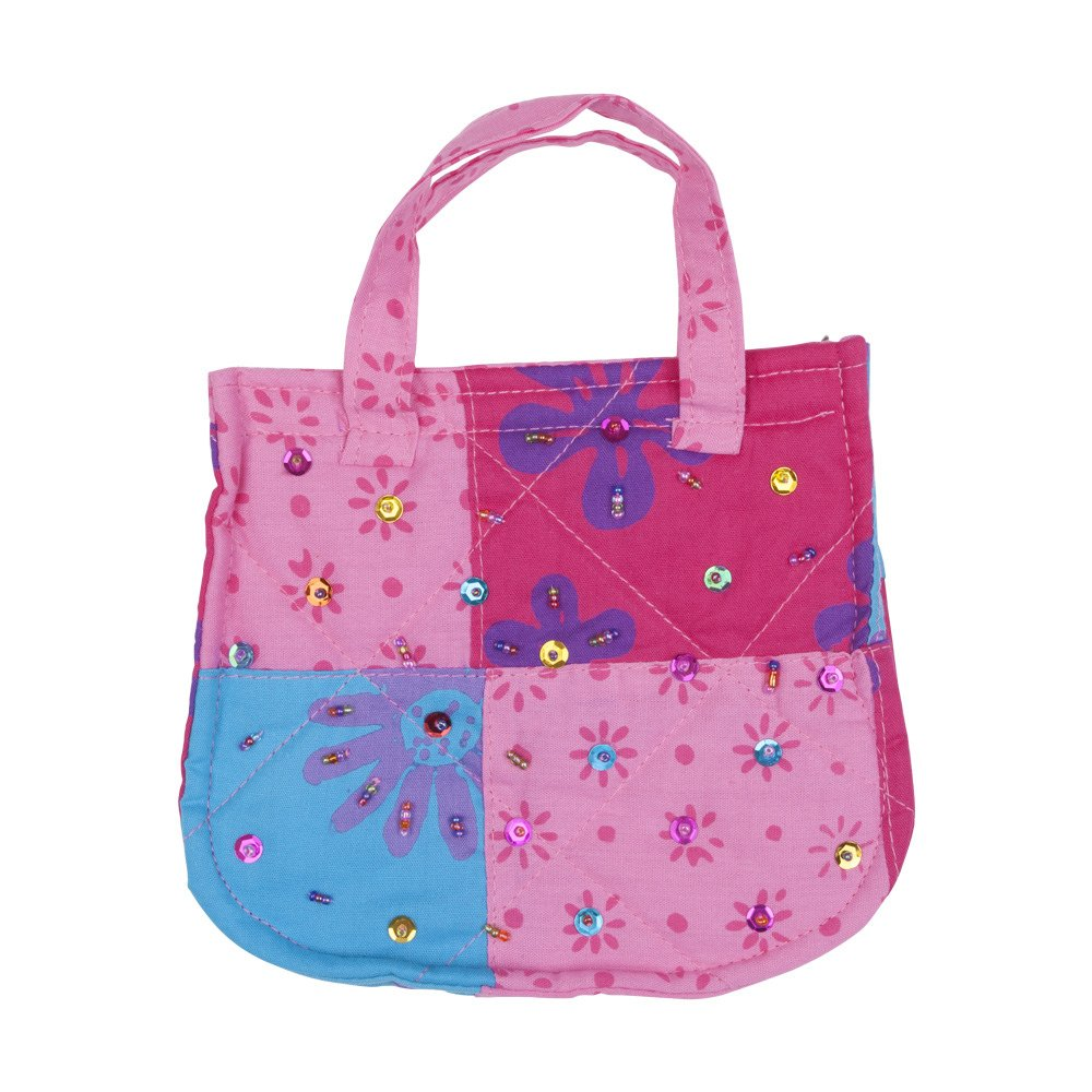 Shu-Shi Girls Sparkly Colorful Purse Quilted Cotton Patchwork with Beaded Dog shape Purse Charm