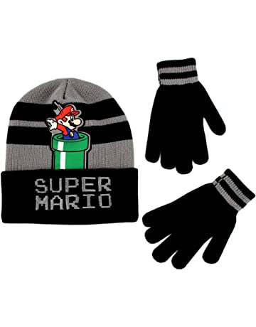 192b188430f Nintendo Boys  Little Super Mario Beanie Hat and Gloves Cold Weather Set