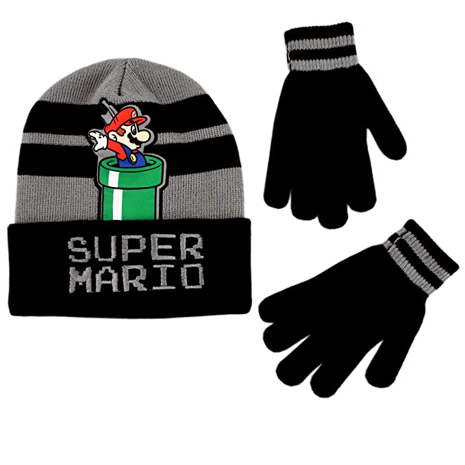 Amazon.com  Nintendo Boys  Little Super Mario Beanie Hat and Gloves ... 6f387569871