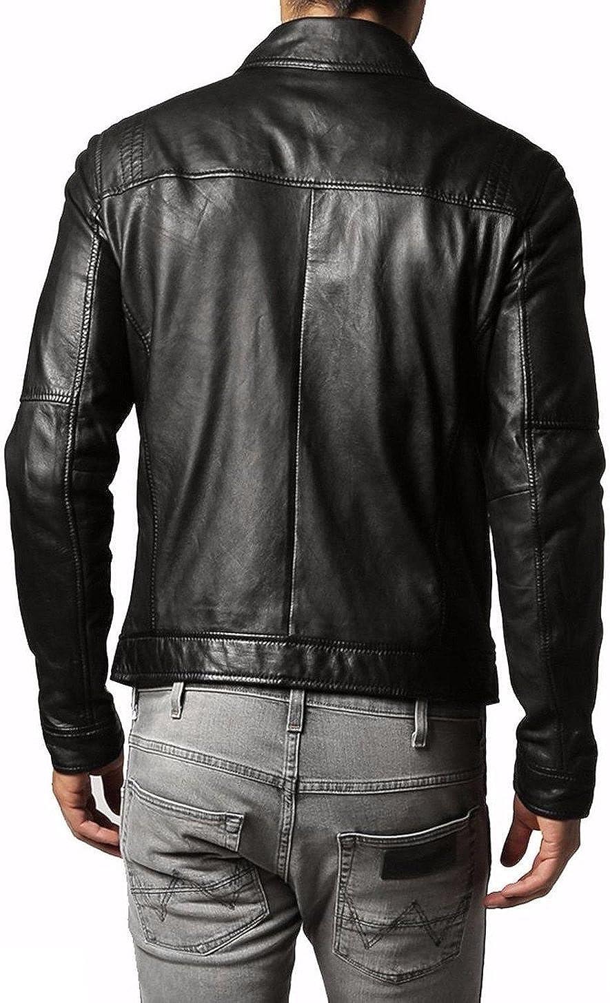 Men Slim Fit Biker Motorcycle Lambskin Leather Jacket Coat Outwear Jackets T1272