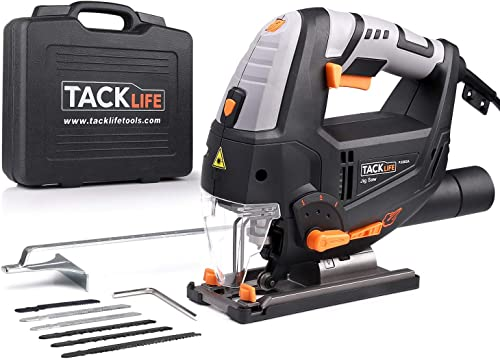 TACKLIFE 6.7 Amp Jigsaw with Laser Work Light, Variable Speed 800-3000SPM,6 Blades, Carrying Case, Adjustable Aluminum Base, Pure Copper Motor, 10 Feet Cord