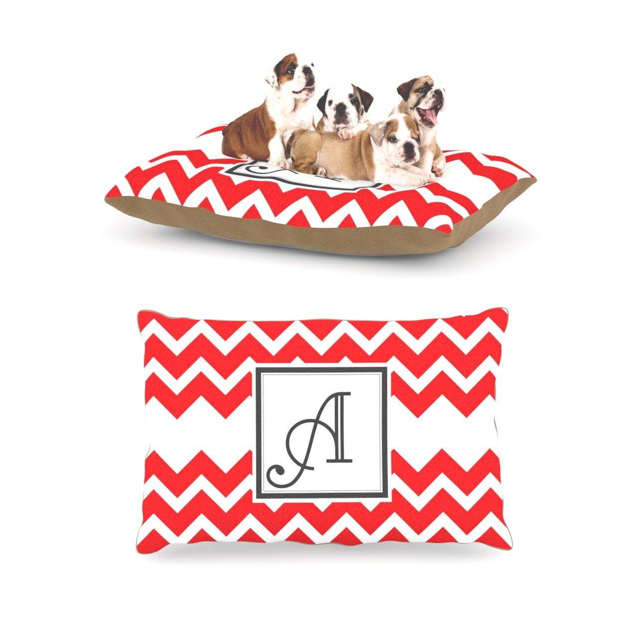 A Large 30  x 40 Kess InHouse Chevron Red Fleece Dog Bed, 30 by 40Inch, Monogram LetterU