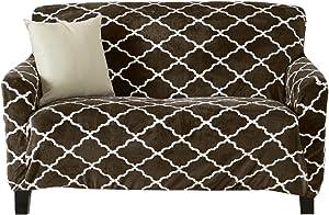 Modern Velvet Plush Recliner Slipcover. Strapless One Piece Stretch Recliner Cover. Recliner Cover for Living Room. Magnolia Collection Slipcover. (Recliner, Walnut Brown)