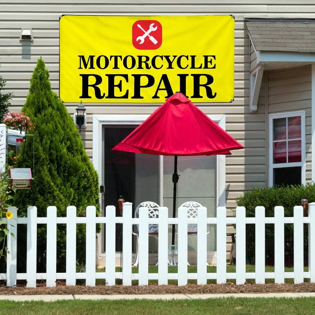 Vinyl Banner Multiple Sizes Motorcycle Repair B Advertising Printing Lifestyle Outdoor Weatherproof Industrial Yard Signs 10 Grommets 60x144Inches