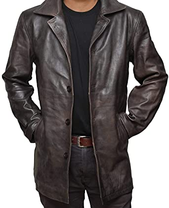 e61cab2d984 Brown Leather Jacket Men - Natural Distressed Leather Jackets for ...